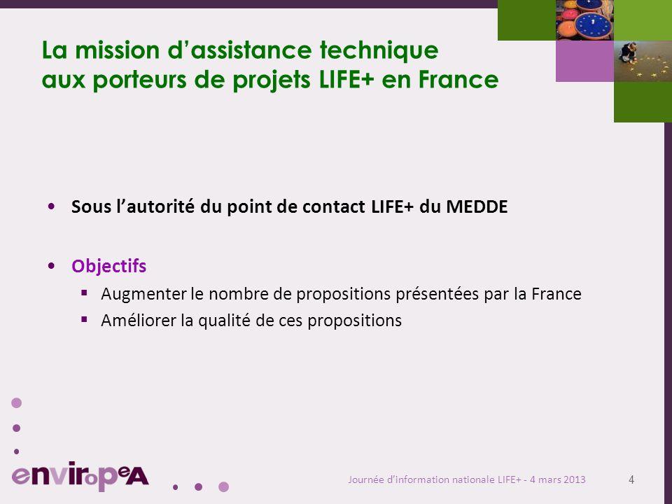 4 Journée dinformation nationale LIFE+ - 4 mars 2013 La mission dassistance technique aux porteurs de projets LIFE+ en France Sous lautorité du point