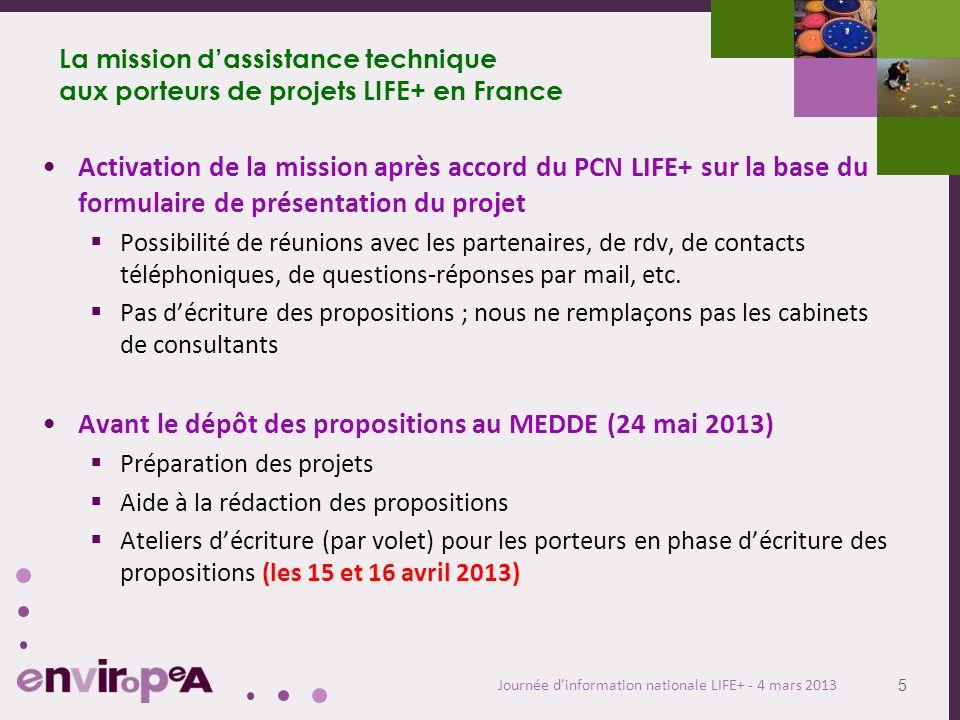 5 Journée dinformation nationale LIFE+ - 4 mars 2013 La mission dassistance technique aux porteurs de projets LIFE+ en France Activation de la mission après accord du PCN LIFE+ sur la base du formulaire de présentation du projet Possibilité de réunions avec les partenaires, de rdv, de contacts téléphoniques, de questions-réponses par mail, etc.