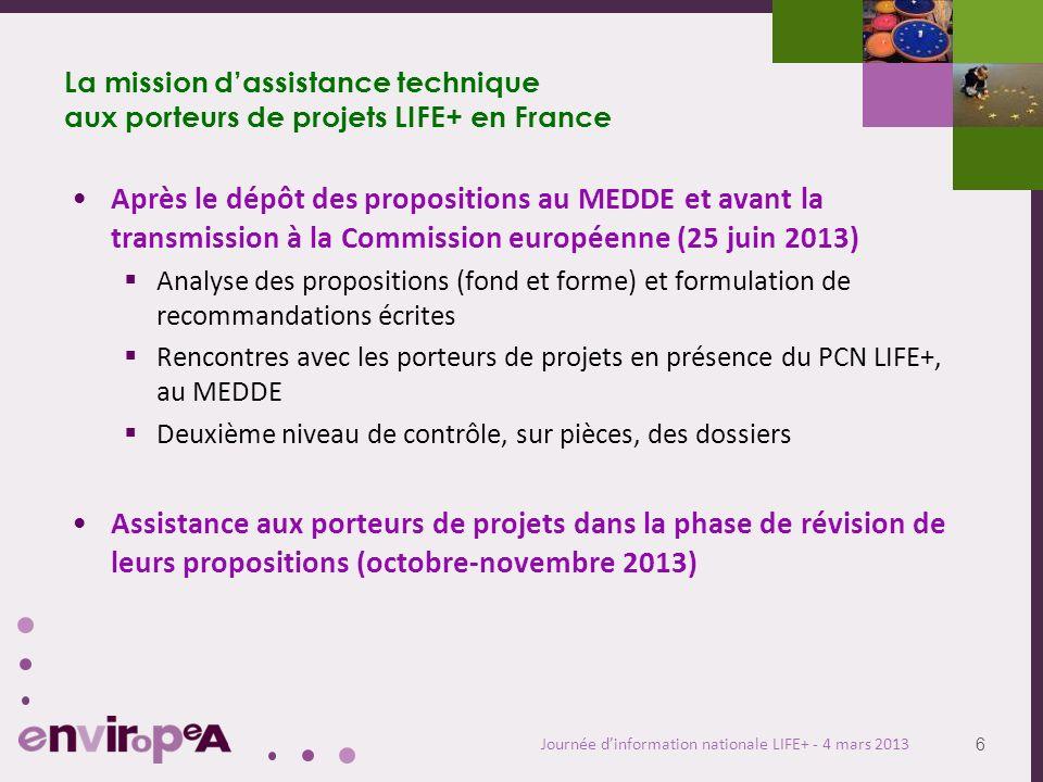 6 Journée dinformation nationale LIFE+ - 4 mars 2013 La mission dassistance technique aux porteurs de projets LIFE+ en France Après le dépôt des propo