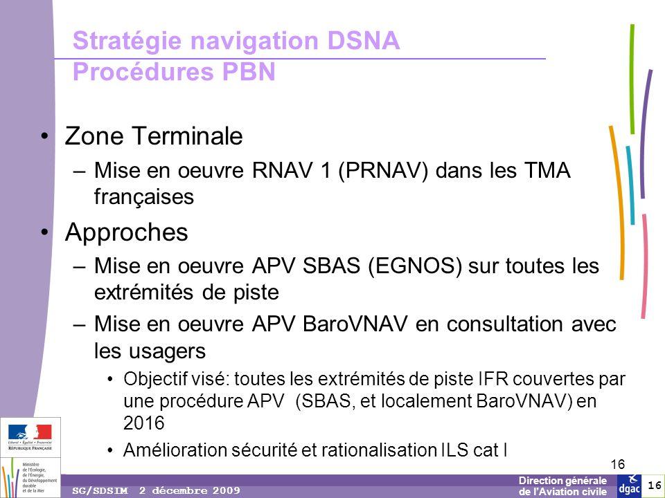 16 1616 Direction générale de lAviation civile SG/SDSIM 2 décembre 2009 16 Stratégie navigation DSNA Procédures PBN Zone Terminale –Mise en oeuvre RNAV 1 (PRNAV) dans les TMA françaises Approches –Mise en oeuvre APV SBAS (EGNOS) sur toutes les extrémités de piste –Mise en oeuvre APV BaroVNAV en consultation avec les usagers Objectif visé: toutes les extrémités de piste IFR couvertes par une procédure APV (SBAS, et localement BaroVNAV) en 2016 Amélioration sécurité et rationalisation ILS cat I