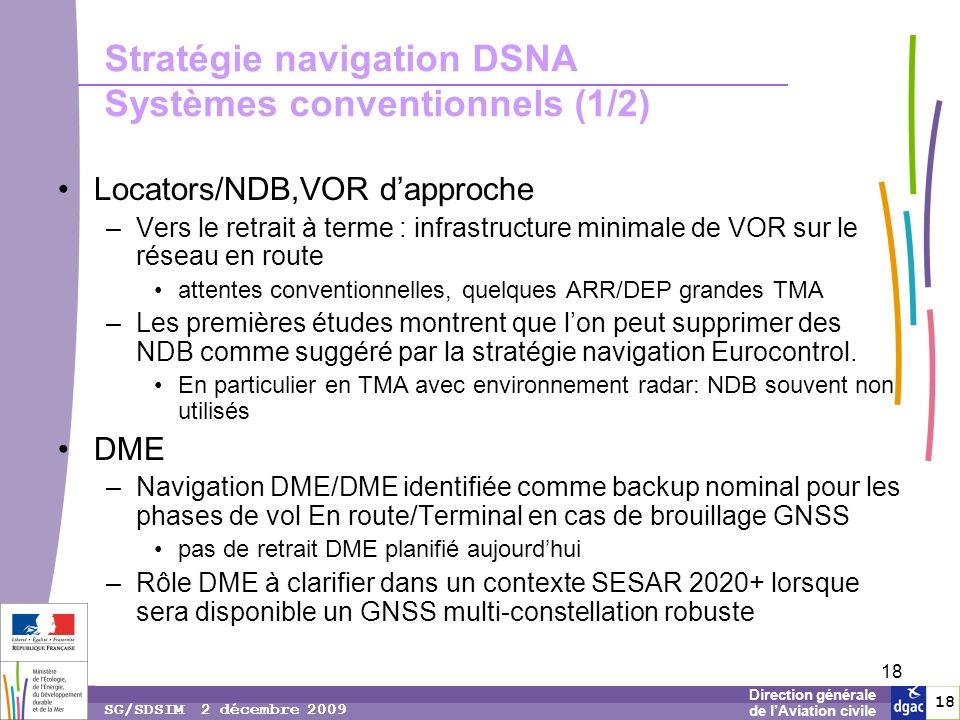 18 1818 Direction générale de lAviation civile SG/SDSIM 2 décembre 2009 18 Stratégie navigation DSNA Systèmes conventionnels (1/2) Locators/NDB,VOR dapproche –Vers le retrait à terme : infrastructure minimale de VOR sur le réseau en route attentes conventionnelles, quelques ARR/DEP grandes TMA –Les premières études montrent que lon peut supprimer des NDB comme suggéré par la stratégie navigation Eurocontrol.