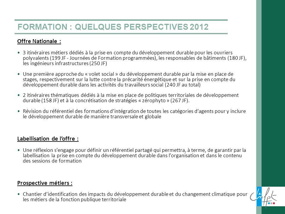 FORMATION : QUELQUES PERSPECTIVES 2012 Offre Nationale : 3 itinéraires métiers dédiés à la prise en compte du développement durable pour les ouvriers