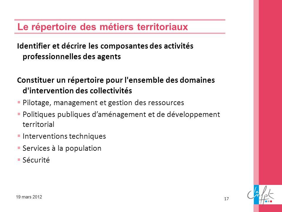 Identifier et décrire les composantes des activités professionnelles des agents Constituer un répertoire pour l'ensemble des domaines d'intervention d