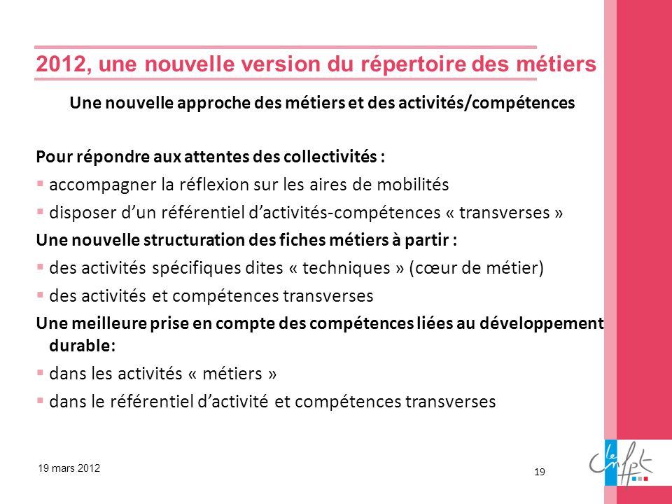 19 19 mars 2012 Une nouvelle approche des métiers et des activités/compétences Pour répondre aux attentes des collectivités : accompagner la réflexion