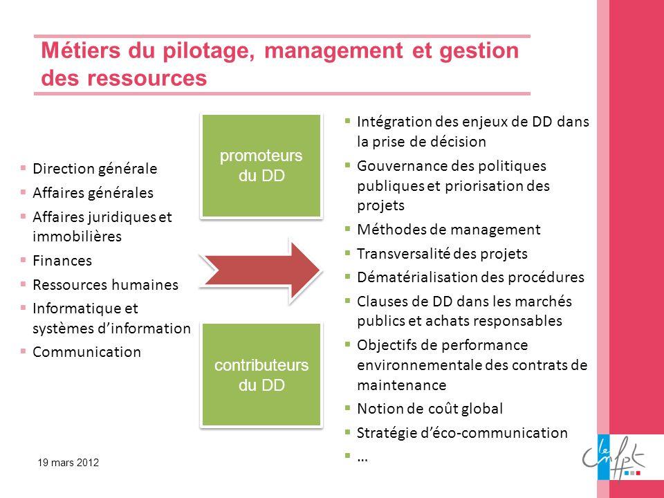 Métiers du pilotage, management et gestion des ressources Direction générale Affaires générales Affaires juridiques et immobilières Finances Ressource