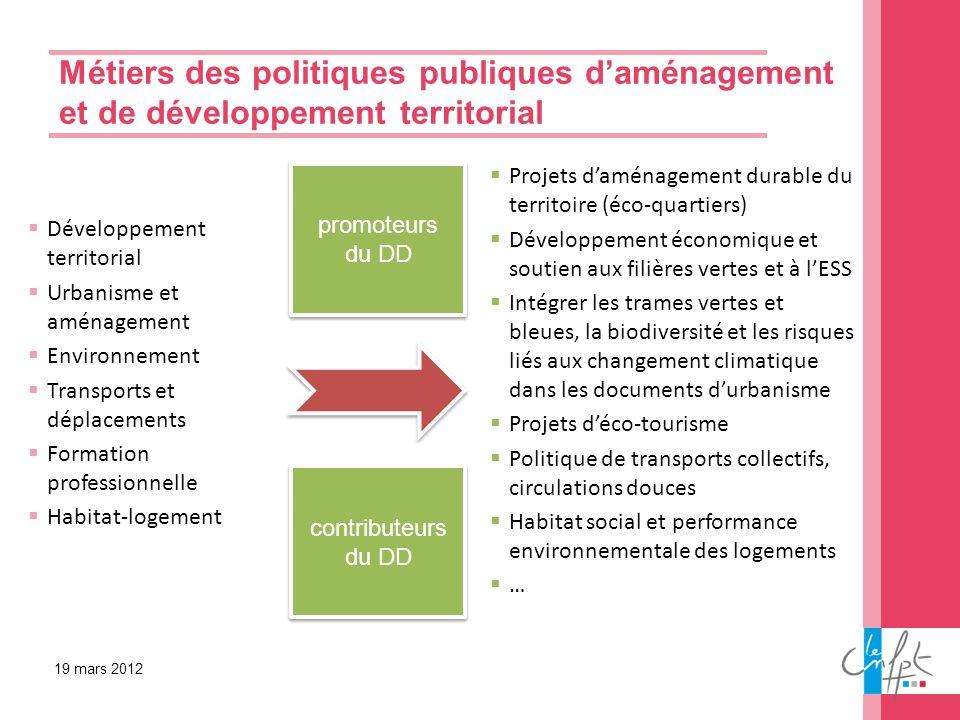 Métiers des politiques publiques daménagement et de développement territorial 19 mars 2012 Développement territorial Urbanisme et aménagement Environn