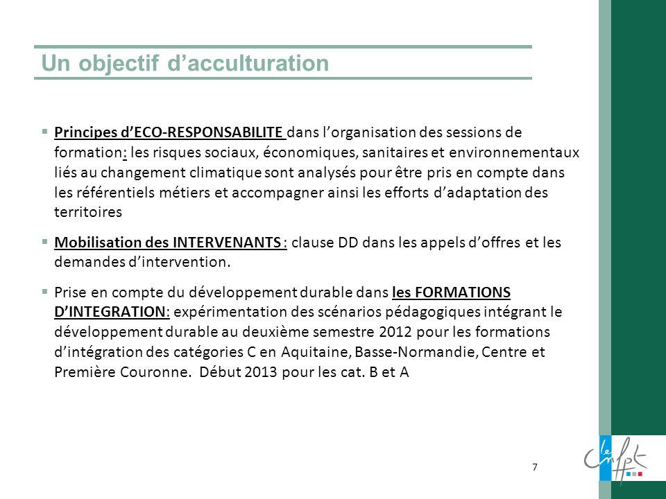 Un objectif dacculturation Principes dECO-RESPONSABILITE dans lorganisation des sessions de formation: les risques sociaux, économiques, sanitaires et