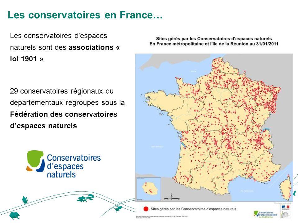 Les conservatoires en France… Les conservatoires despaces naturels sont des associations « loi 1901 » 29 conservatoires régionaux ou départementaux regroupés sous la Fédération des conservatoires despaces naturels