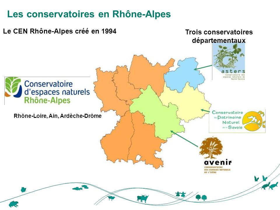 Le CEN Rhône-Alpes créé en 1994 Rhône-Loire, Ain, Ardèche-Drôme Les conservatoires en Rhône-Alpes Trois conservatoires départementaux
