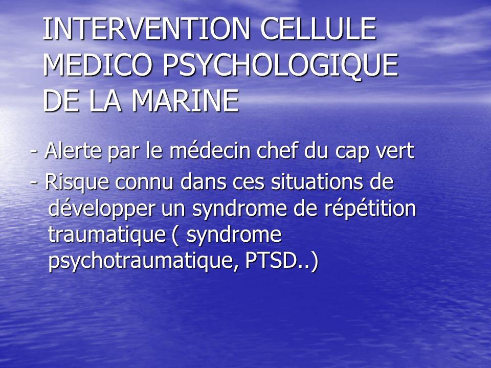 INTERVENTION CELLULE MEDICO PSYCHOLOGIQUE DE LA MARINE - Alerte par le médecin chef du cap vert - Risque connu dans ces situations de développer un sy