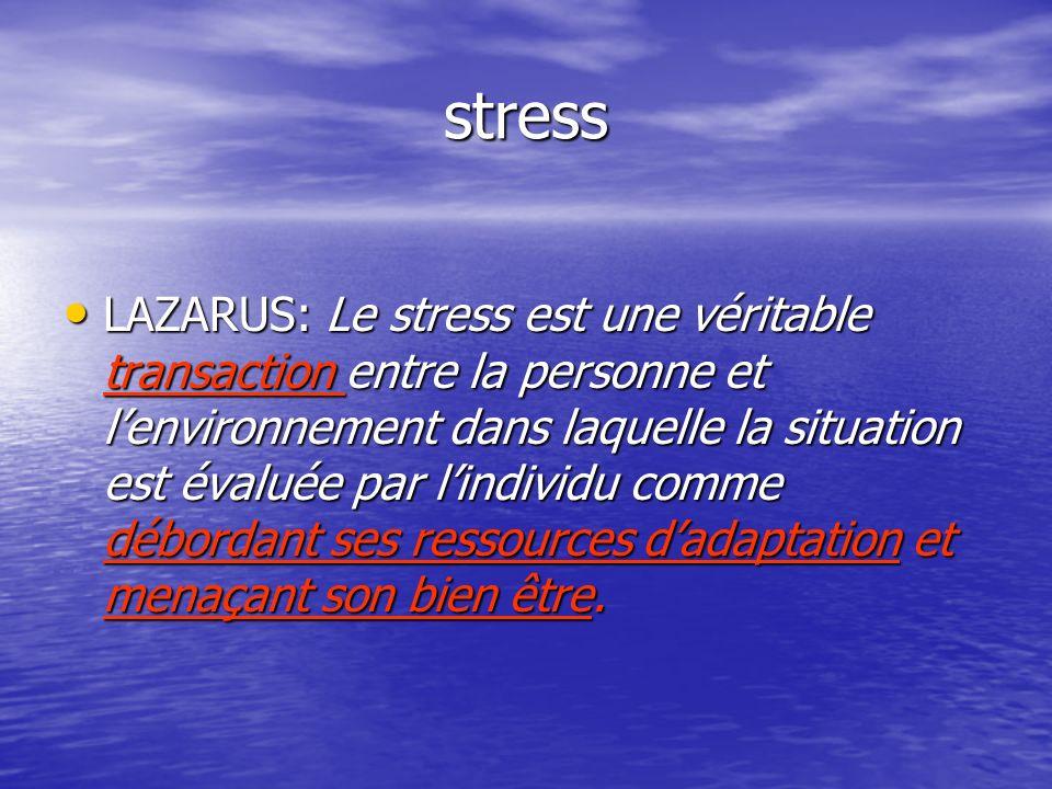 stress LAZARUS: Le stress est une véritable transaction entre la personne et lenvironnement dans laquelle la situation est évaluée par lindividu comme
