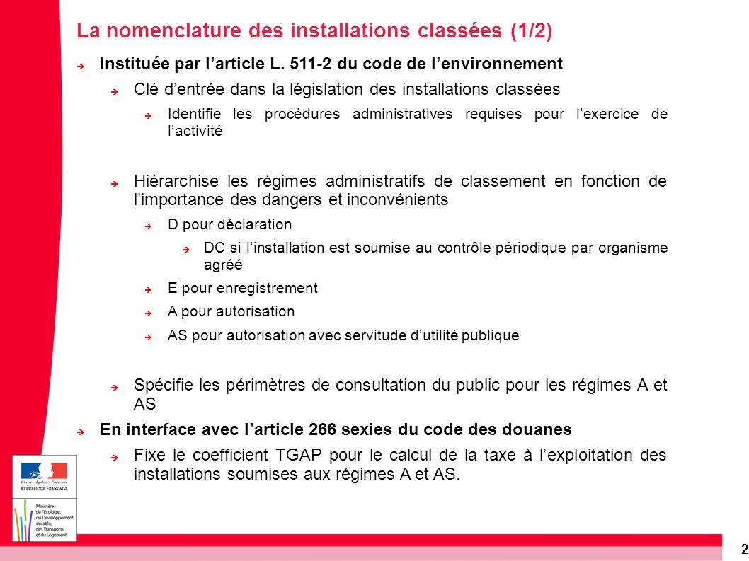 2 Instituée par larticle L. 511-2 du code de lenvironnement Clé dentrée dans la législation des installations classées Identifie les procédures admini