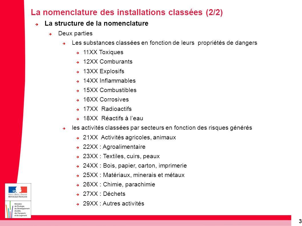 3 La nomenclature des installations classées (2/2) La structure de la nomenclature Deux parties Les substances classées en fonction de leurs propriété