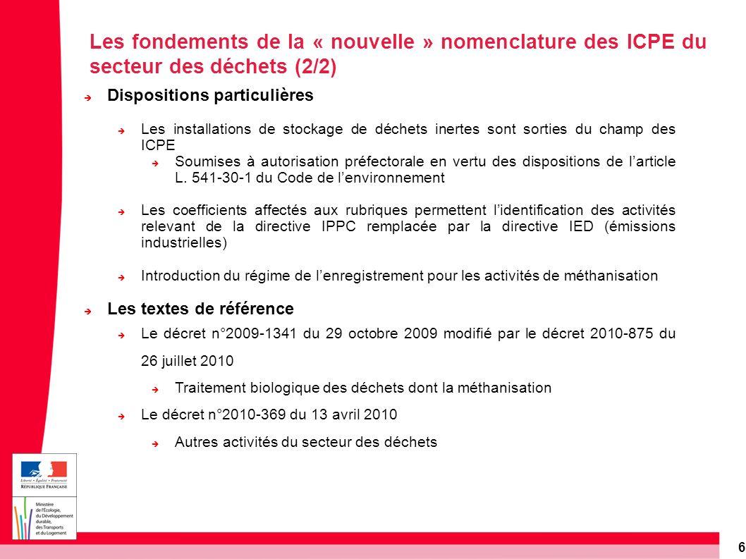 6 Dispositions particulières Les installations de stockage de déchets inertes sont sorties du champ des ICPE Soumises à autorisation préfectorale en v