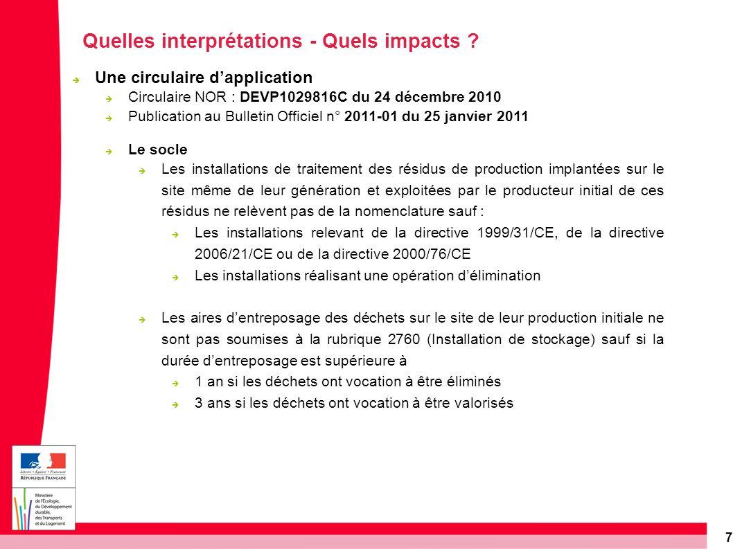7 Quelles interprétations - Quels impacts ? Une circulaire dapplication Circulaire NOR : DEVP1029816C du 24 décembre 2010 Publication au Bulletin Offi
