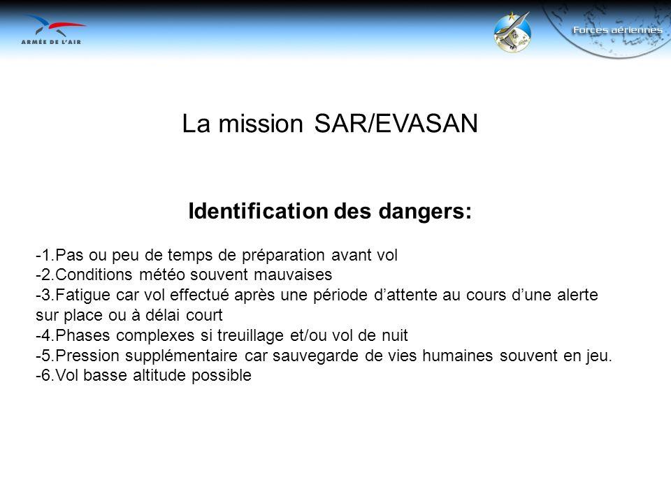 La mission SAR/EVASAN Identification des dangers: -1.Pas ou peu de temps de préparation avant vol -2.Conditions météo souvent mauvaises -3.Fatigue car