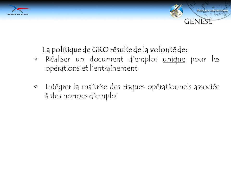 La politique de GRO résulte de la volonté de: Réaliser un document demploi unique pour les opérations et lentraînement Intégrer la maîtrise des risque