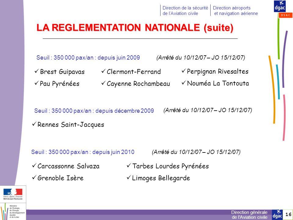 17 Direction générale de lAviation civile Direction de la sécurité de lAviation civile Direction aéroports et navigation aérienne LA REGLEMENTATION NATIONALE (suite) Seuil : 300 000 pax/an : depuis juillet 2010(Arrêté du 31/12/08 – JO 14/01/09) Figari Sud Corse Nouméa Magenta Seuil : 250 000 pax/an : depuis août 2011 (Arrêté du 28/12/09 – JO 10/02/10) Bergerac Calvi A ce jour : 35 aérodromes certifiés Metz-Nancy-Lorraine (processus engagé à compter de novembre 2011 - changement dexploitant certification : avril 2013 )