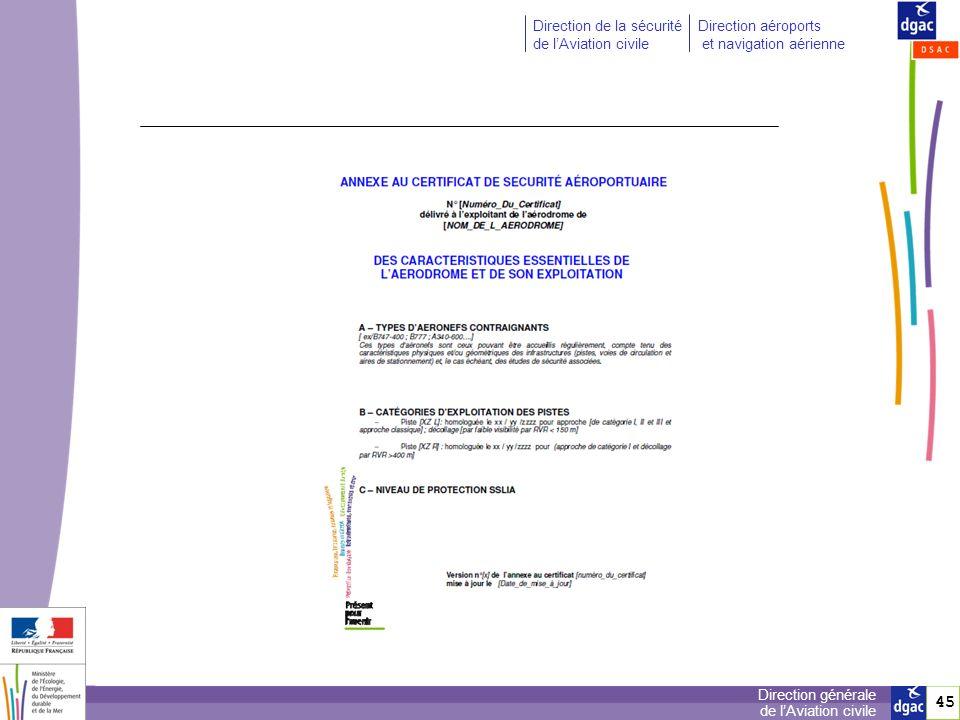 46 Direction générale de lAviation civile Direction de la sécurité de lAviation civile Direction aéroports et navigation aérienne