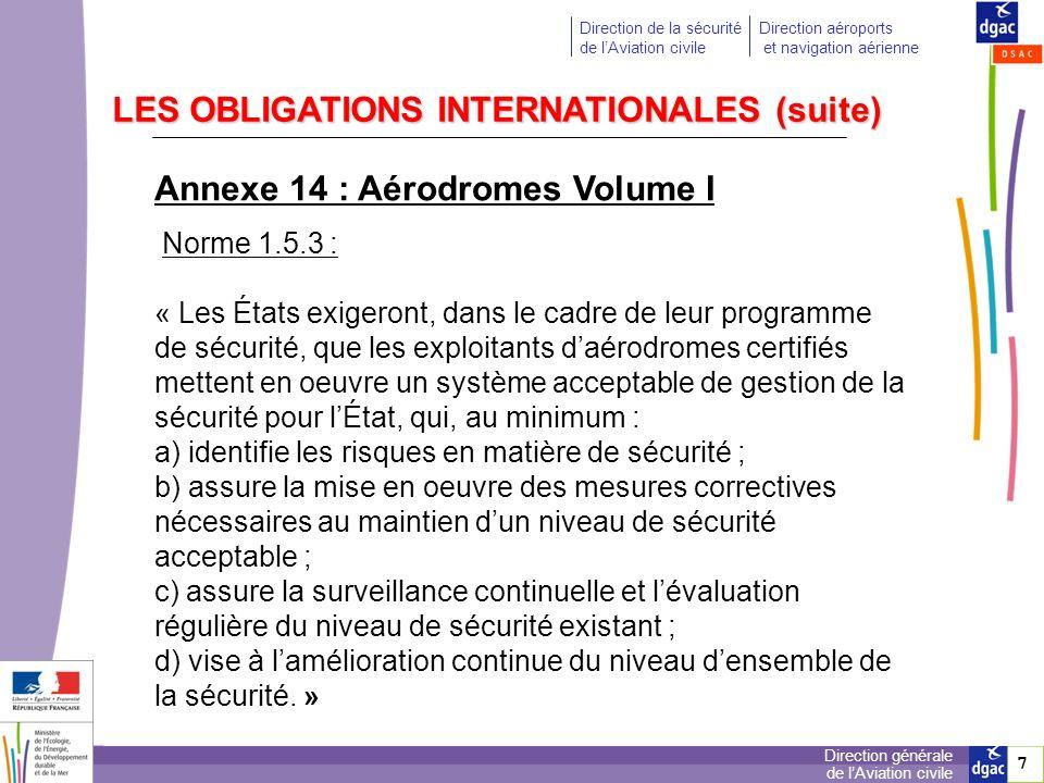 8 8 Direction générale de lAviation civile Direction de la sécurité de lAviation civile Direction aéroports et navigation aérienne LA REGLEMENTATION NATIONALE Code des transports - article L 6331-3 (ex L.