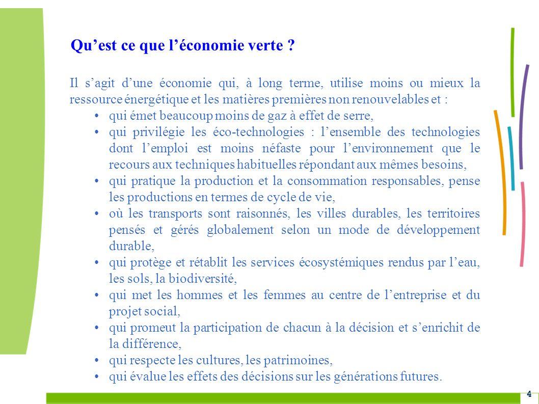Grenelle Environnement 4 Quest ce que léconomie verte ? Il sagit dune économie qui, à long terme, utilise moins ou mieux la ressource énergétique et l