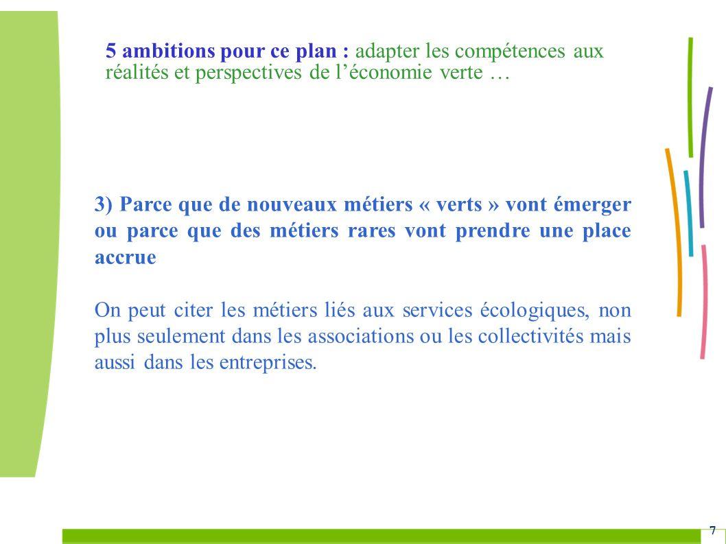 Grenelle Environnement 7 3) Parce que de nouveaux métiers « verts » vont émerger ou parce que des métiers rares vont prendre une place accrue On peut