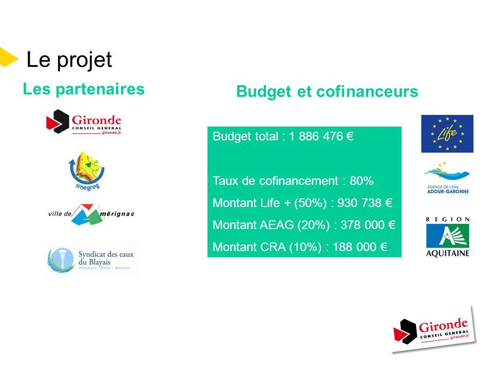 Le projet Les partenaires Budget total : 1 886 476 Taux de cofinancement : 80% Montant Life + (50%) : 930 738 Montant AEAG (20%) : 378 000 Montant CRA (10%) : 188 000 Budget et cofinanceurs