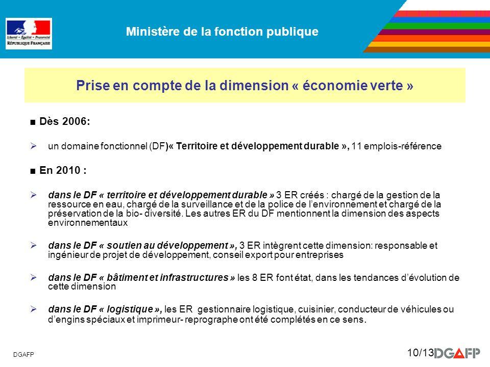 Ministère de la fonction publique DGAFP 10/13 Prise en compte de la dimension « économie verte » Dès 2006: un domaine fonctionnel (DF)« Territoire et