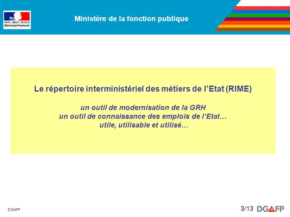 Ministère de la fonction publique DGAFP 3/13 Le répertoire interministériel des métiers de lEtat (RIME) un outil de modernisation de la GRH un outil d