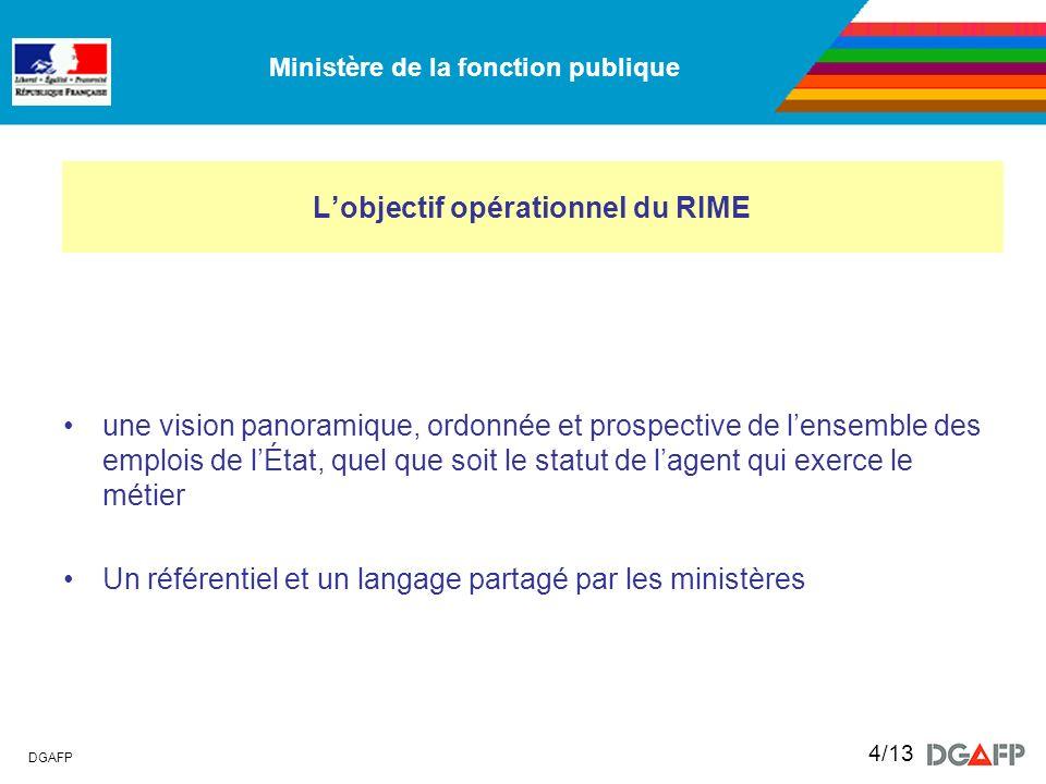 Ministère de la fonction publique DGAFP 4/13 Lobjectif opérationnel du RIME une vision panoramique, ordonnée et prospective de lensemble des emplois d
