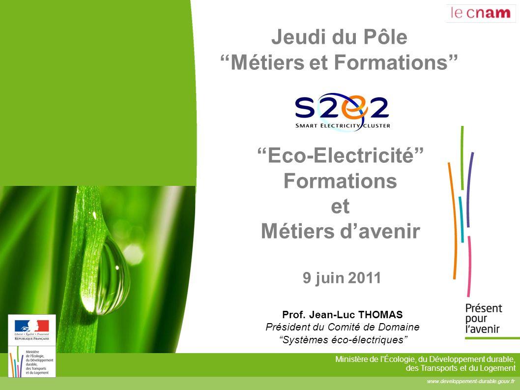 S2E2 : Jeudi du Pôle Métiers et Formations le 9 juin 2011 2 Situation de la filière Eco-Electricité