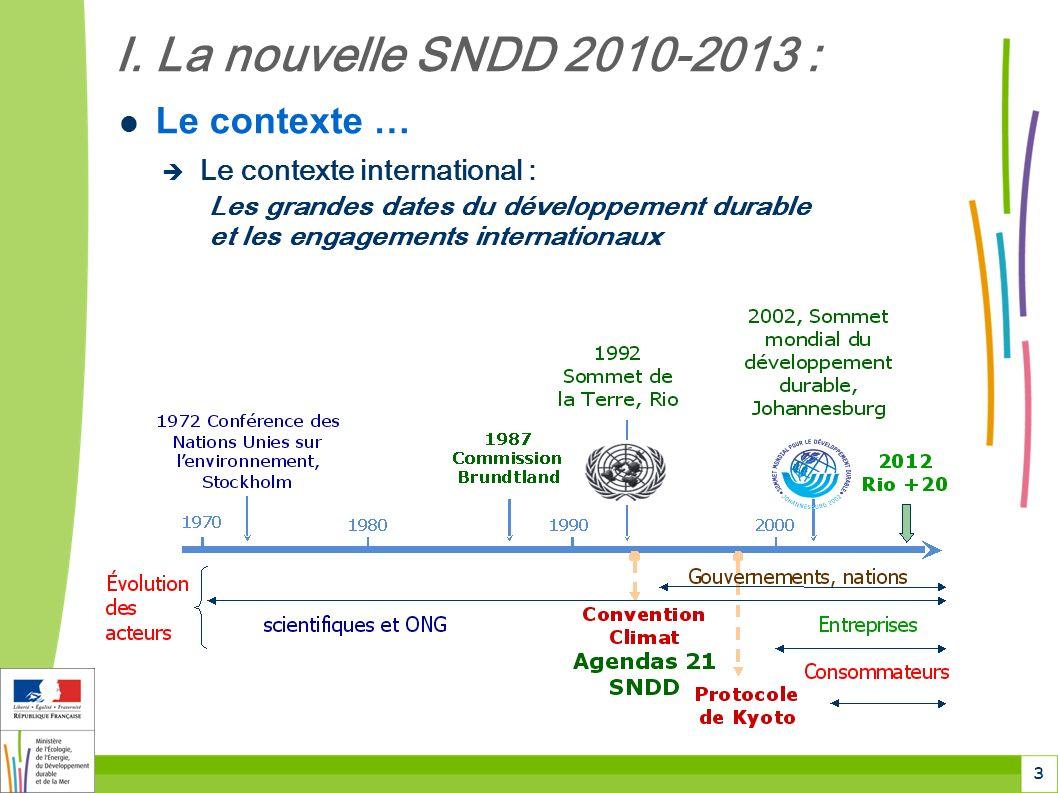 3 I. La nouvelle SNDD 2010-2013 : Le contexte … Le contexte international :