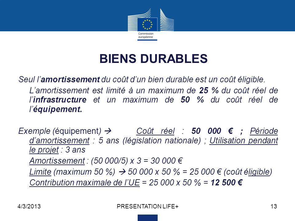 4/3/2013PRESENTATION LIFE+13 BIENS DURABLES Seul lamortissement du coût dun bien durable est un coût éligible.