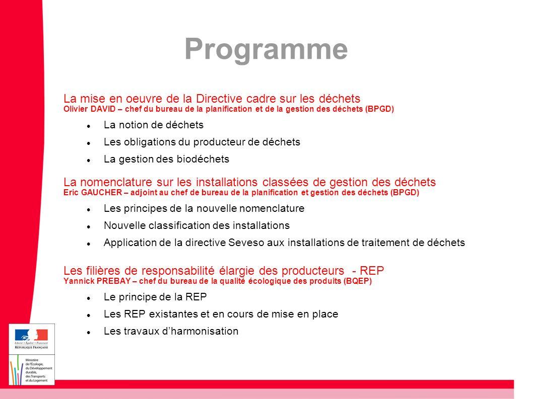 Le cadre de référence Directive cadre sur les déchets du 19 novembre 2008 Définitions, prévention de la production, planification, hiérarchie à 5 niveaux (prévention, réemploi, recyclage, autres valorisation, élimination), tri à la source, sortie du statut de déchets, objectifs de valorisation.