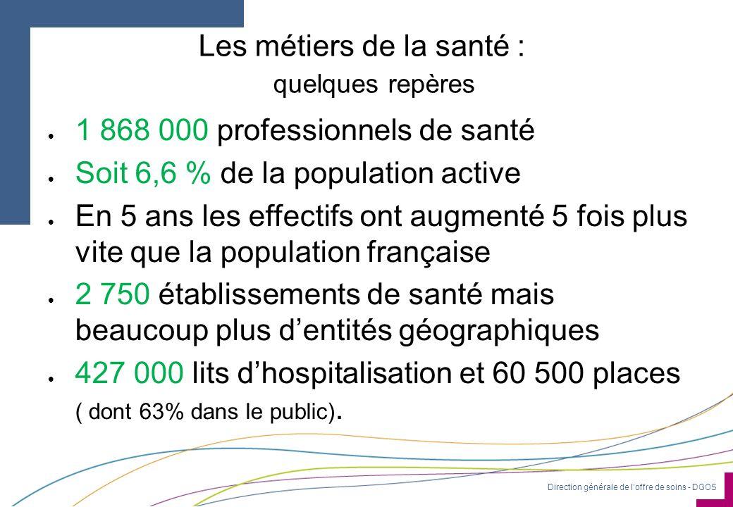 Direction générale de loffre de soins - DGOS Les métiers de la santé : quelques repères 1 868 000 professionnels de santé Soit 6,6 % de la population