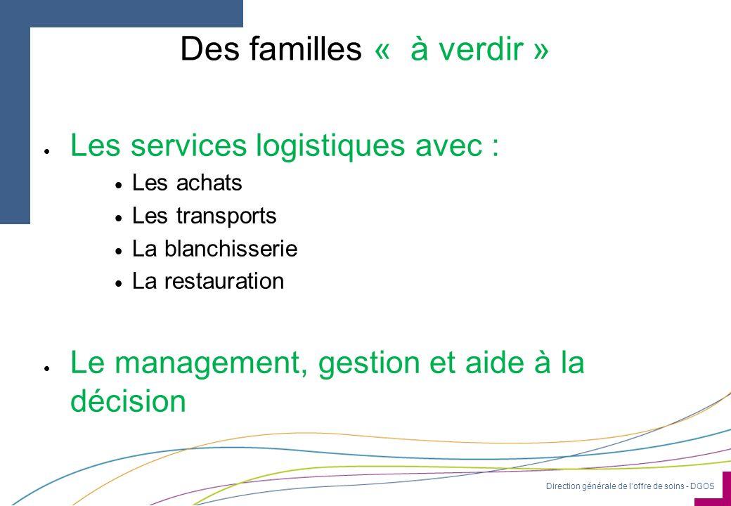 Direction générale de loffre de soins - DGOS Des familles « à verdir » Les services logistiques avec : Les achats Les transports La blanchisserie La r