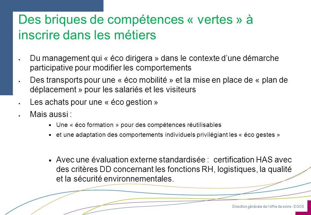 Direction générale de loffre de soins - DGOS Des briques de compétences « vertes » à inscrire dans les métiers Du management qui « éco dirigera » dans