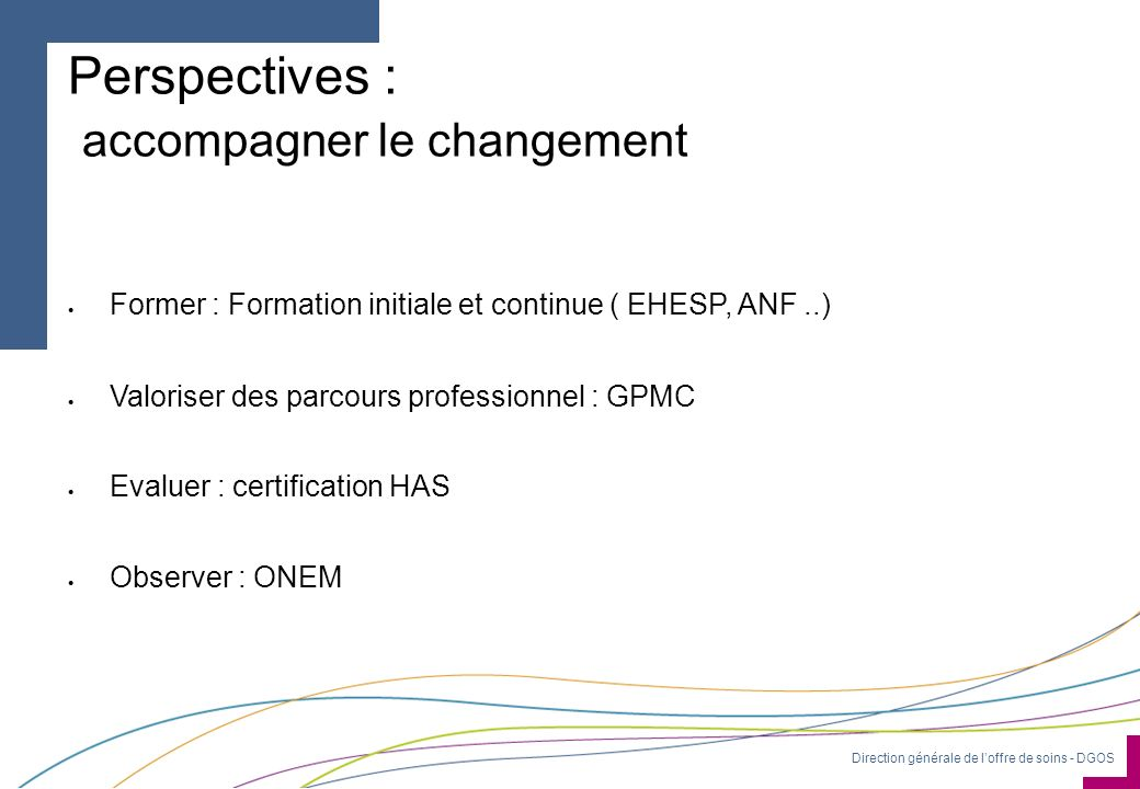 Direction générale de loffre de soins - DGOS Perspectives : accompagner le changement Former : Formation initiale et continue ( EHESP, ANF..) Valorise