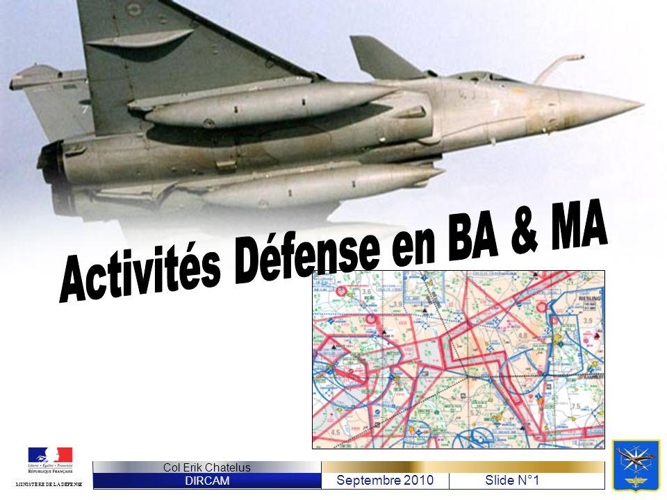 DIRCAM Septembre 2010Slide N°12 Col Erik Chatelus MINISTÈRE DE LA DÉFENSE Planification des exercices http://www.dircam.air.defense.gouv.fr/dia/