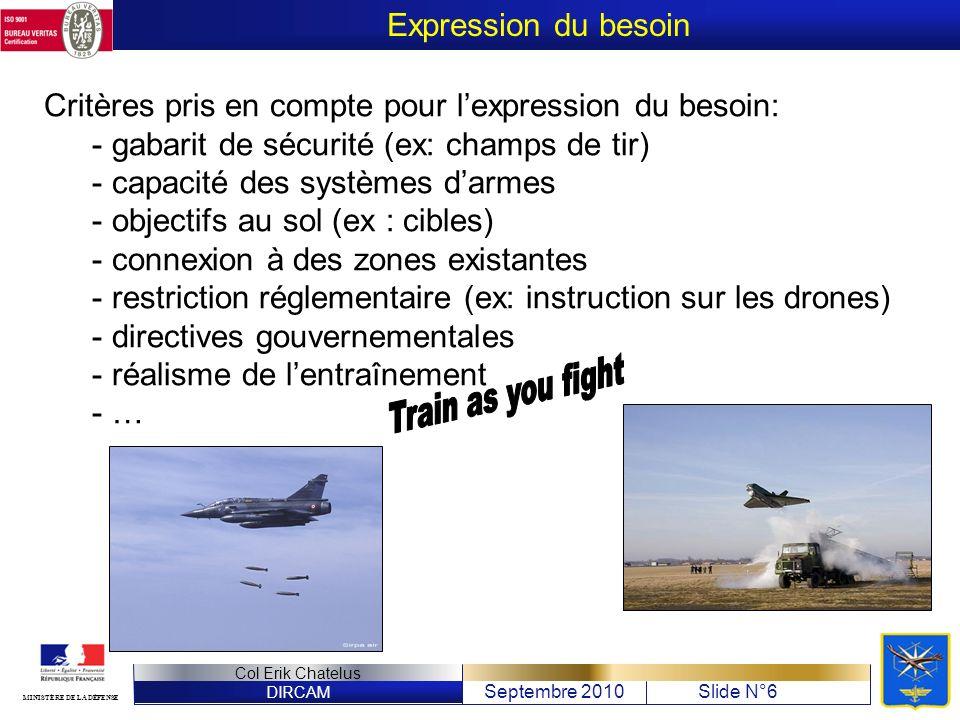 DIRCAM Septembre 2010Slide N°6 Col Erik Chatelus MINISTÈRE DE LA DÉFENSE Critères pris en compte pour lexpression du besoin: - gabarit de sécurité (ex