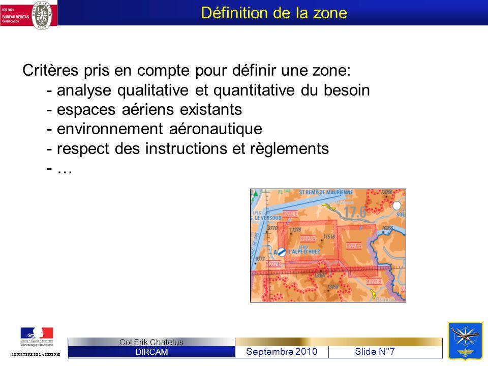 DIRCAM Septembre 2010Slide N°7 Col Erik Chatelus MINISTÈRE DE LA DÉFENSE Critères pris en compte pour définir une zone: - analyse qualitative et quant