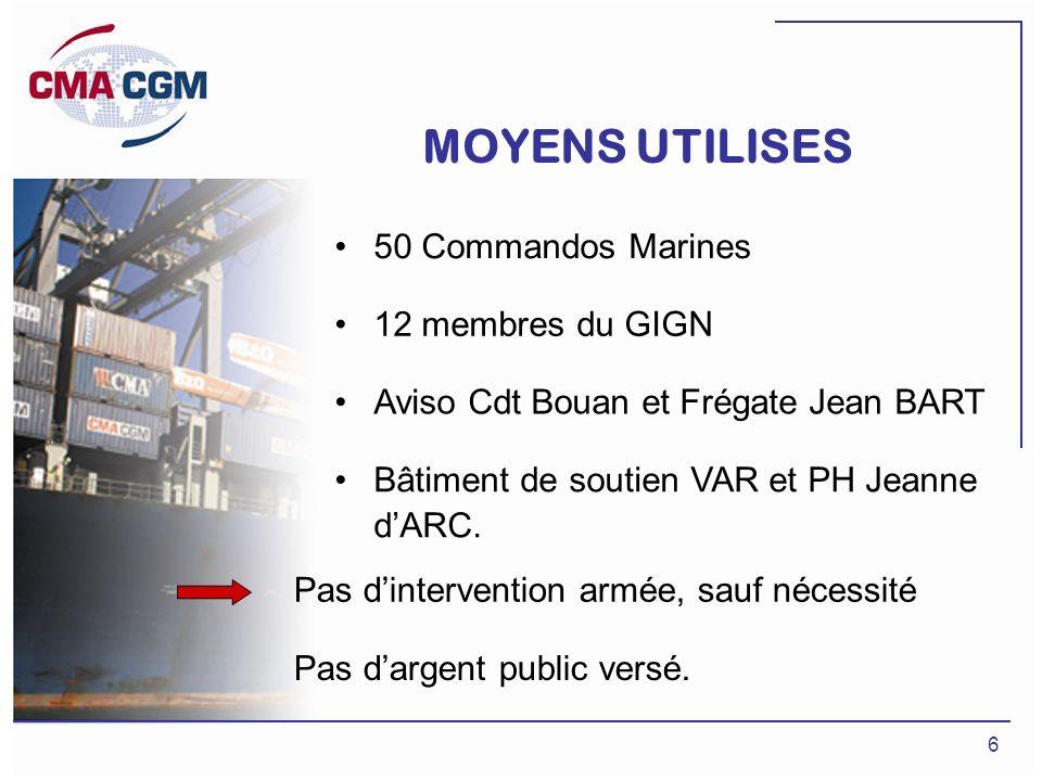 6 MOYENS UTILISES 50 Commandos Marines 12 membres du GIGN Aviso Cdt Bouan et Frégate Jean BART Bâtiment de soutien VAR et PH Jeanne dARC. Pas dinterve