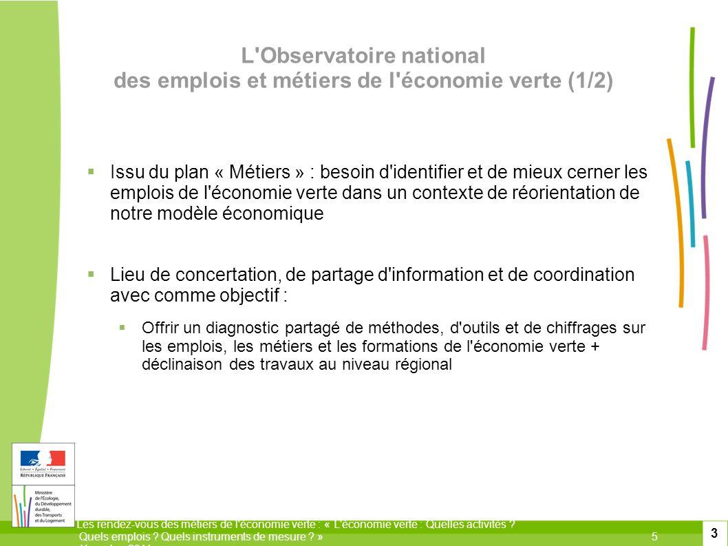 Les rendez-vous des métiers de l'économie verte : « L'économie verte : Quelles activités ? Quels emplois ? Quels instruments de mesure ? »5 décembre 2