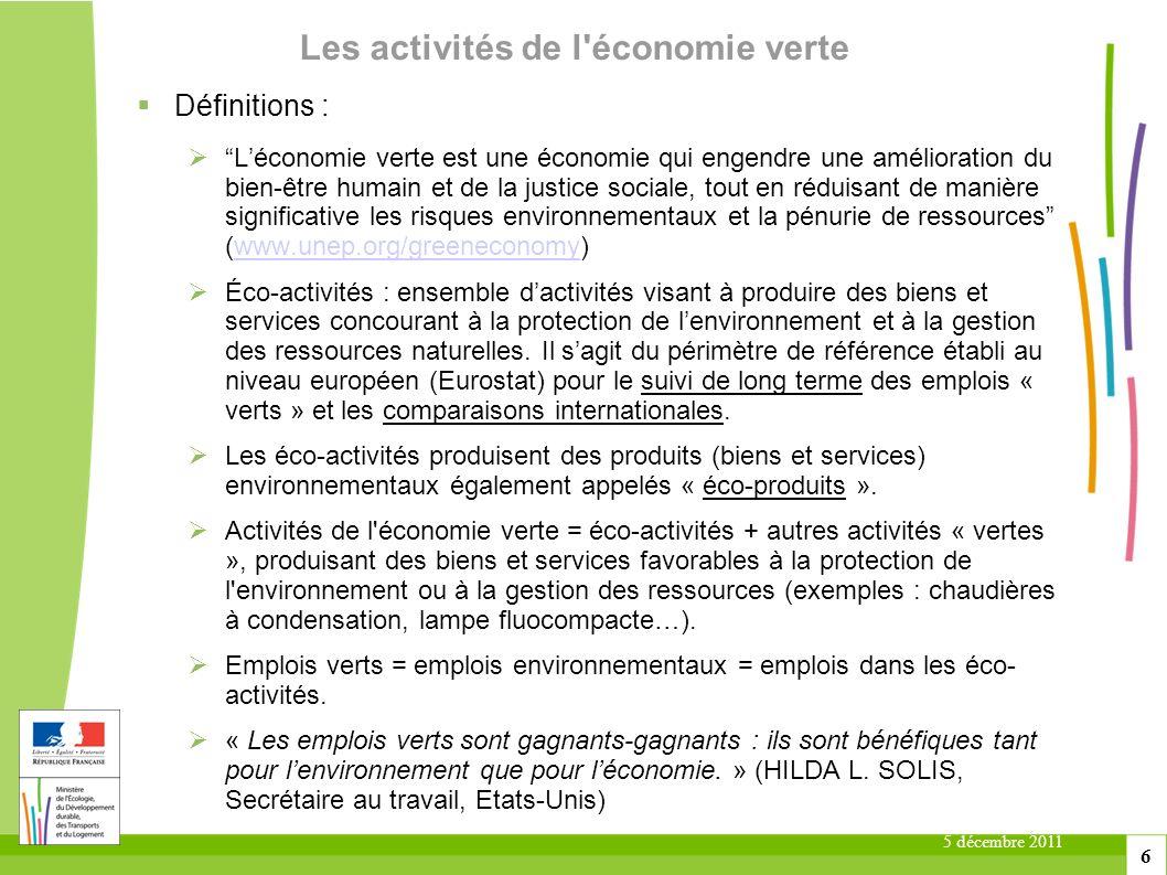 5 décembre 2011 6 Les activités de l'économie verte Définitions : Léconomie verte est une économie qui engendre une amélioration du bien-être humain e