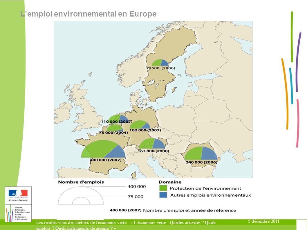 5 décembre 2011 Les rendez-vous des métiers de l'économie verte : « L'économie verte : Quelles activités ? Quels emplois ? Quels instruments de mesure