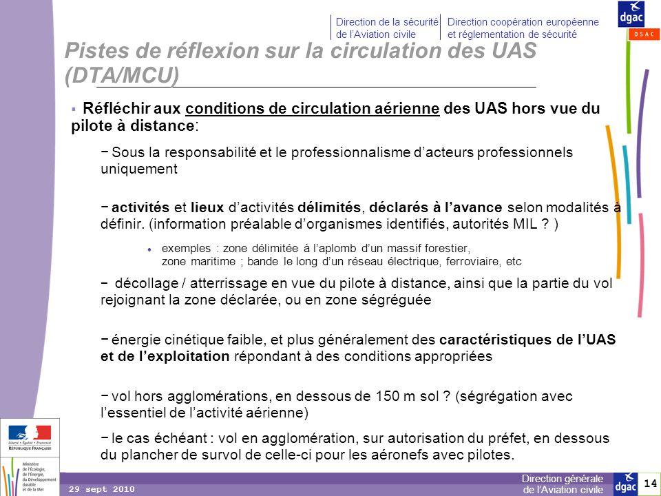 14 Direction générale de lAviation civile Direction de la sécurité de lAviation civile Direction coopération européenne et réglementation de sécurité