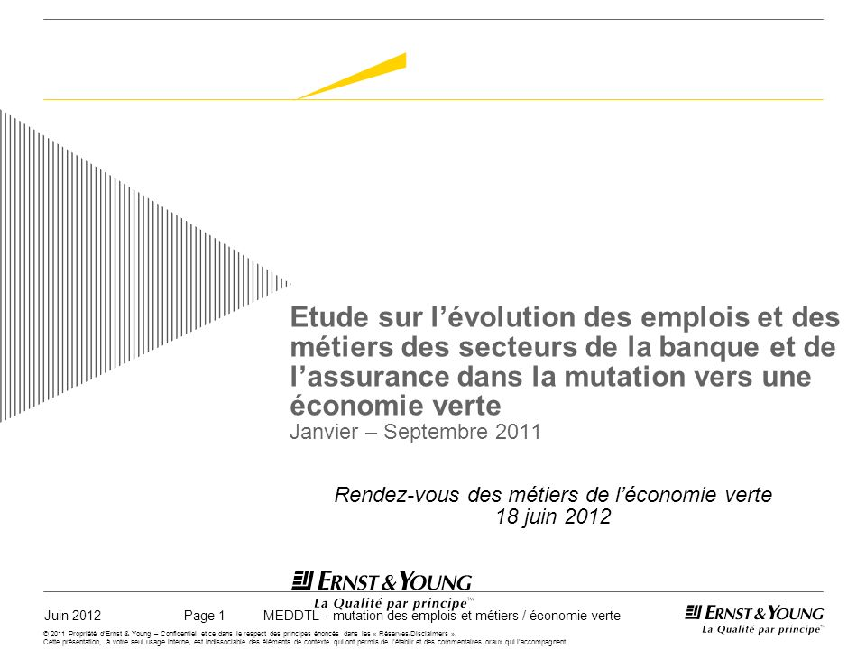 Juin 2012MEDDTL – mutation des emplois et métiers / économie vertePage 12 © 2011 Propriété dErnst & Young – Confidentiel et ce dans le respect des principes énoncés dans les « Réserves/Disclaimers ».