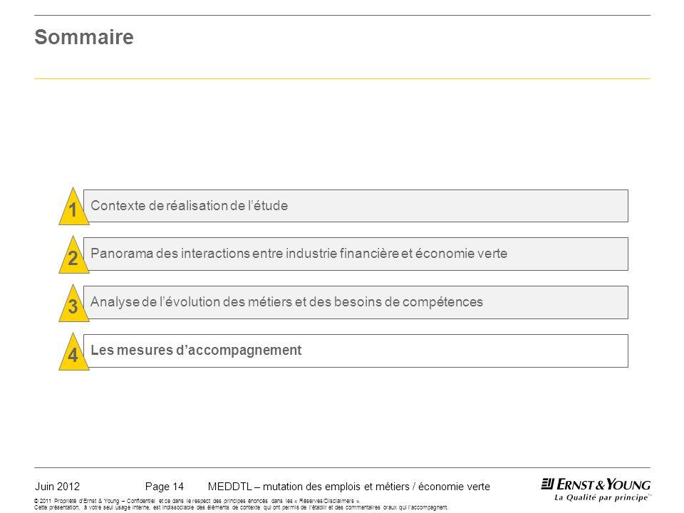 Juin 2012MEDDTL – mutation des emplois et métiers / économie vertePage 14 © 2011 Propriété dErnst & Young – Confidentiel et ce dans le respect des principes énoncés dans les « Réserves/Disclaimers ».