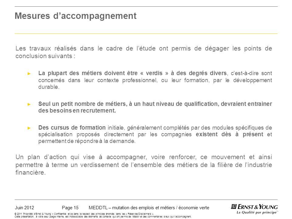 Juin 2012MEDDTL – mutation des emplois et métiers / économie vertePage 15 © 2011 Propriété dErnst & Young – Confidentiel et ce dans le respect des principes énoncés dans les « Réserves/Disclaimers ».