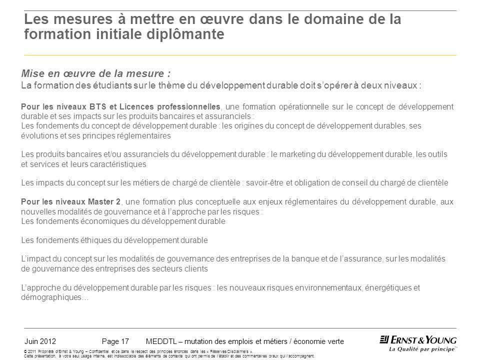 Juin 2012MEDDTL – mutation des emplois et métiers / économie vertePage 17 © 2011 Propriété dErnst & Young – Confidentiel et ce dans le respect des principes énoncés dans les « Réserves/Disclaimers ».